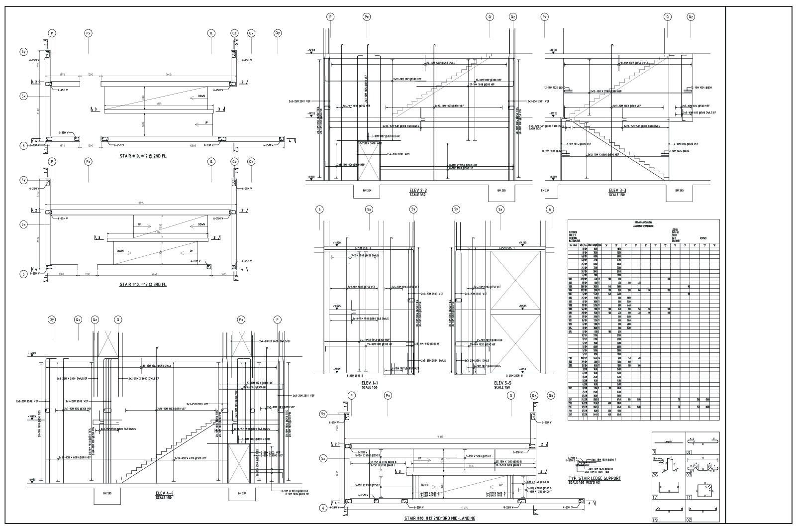 Sample Drawing 5 - ASQ Rebar Detailing Inc